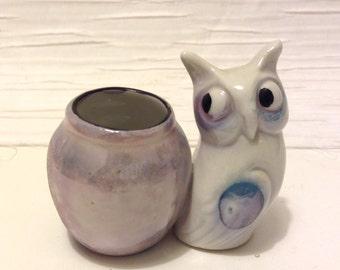 Vintage luster Owl Match Holder and Strike.  Google eye. Japanese Porcelain.  Mid century modern, Kitsch, Eames era.