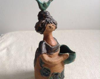 Metlox, Poppytrail, Poppet by Helen Slater.  TLC.  California Pottery Flower Holder Figure. Vintage 1960.  Danish Modern, Lisa Larson style.