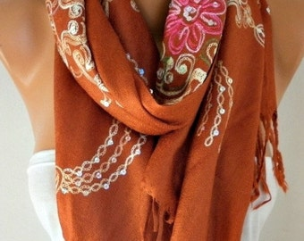 ON SALE --- Burnt Orange Embroidered Scarf,Summer Shawl, Cowl, Bridesmaid gift, Gift Ideas For Her, Women Fashion Accessories,Christmas Gift
