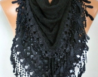 ON SALE --- Black Knitted Lace Scarf,Fall Winter Scarf,Wedding Shawl,Bridal Scarf,Bridesmaid Gift,Gift Ideas For Her,Women Fashion Accessori