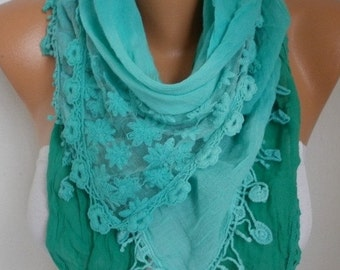 ON SALE --- Mint Ombre Cotton Scarf , Fall Scarf, Oversized Wrap Shawl Cowl Bridesmaid Gift Gift Ideas for Her Women Fashion Accessories Wom