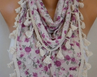 Beige Floral Tasseled Scarf, Shawl Women's Fashion, Cowl Scarf  Fashion Accessories,Christmas Gift