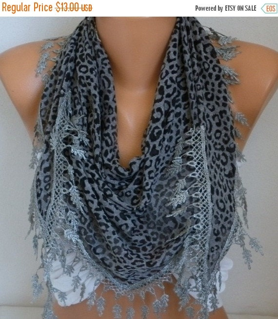 ON SALE --- Gray Leopard Print Combed Cotton Scarf, Birthday Gift Animal Scarf Cowl Scarf Gift Ideas For Her Women's Fashion Accessories