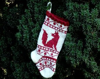Small Christmas Stocking with Fox Wool Knit Fair isle knit Holiday Stocking Xmas decorative ornament - ready to ship wrr