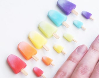 Miniature POPSICLES, Fake Ice Pops for Dolls in 1/3, 1/4, 1/6, 1/12 scale, Colorful Dollhouse Food, Miniature Ice Cream