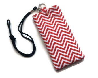 Cell Phone Necklace - Teacher Gift- Red and White Chevron Cell Phone Pouch