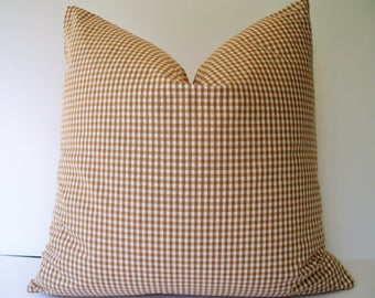 Farmhouse Pillow Cover Brown Gingham Pillow Brown Check Pillow