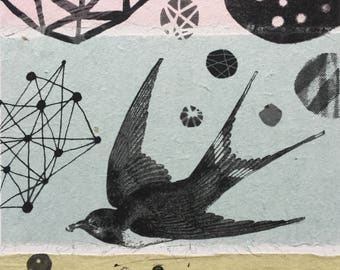 Original monoprint Lithograph with Chine Colle Alchemy mystical Swallow Bird art charcoal drawing