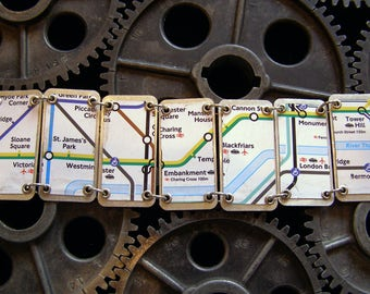 Recycled / Upcycled London Underground Map Tin Bracelet