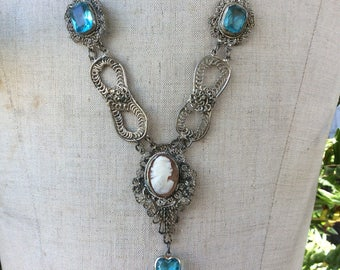 Vintage One of A Kind Cameo Assemblage Necklace