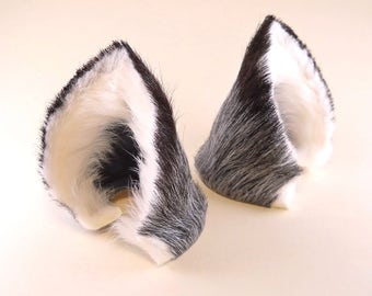 Silver Gray Grey Black White Fur Leather Fox Wolf Dog Ears Inumimi Kitsune Fairy Cosplay Furry Goth Fantasy LARP Costume Pet Play