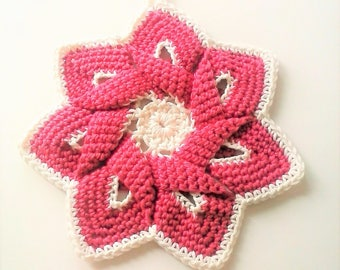 Mid-Century Retro Star Flower Potholder - Rose Pink and Ivory - 100% Cotton, Eco-friendly, Re-usable, Reversible