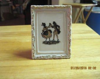 "Vintage Miniature White & Gold/Black Early Americana/Civil War Style  ""Picture Frame""  Liquor Bottle...Porcelain ...1960's/70's...#12"