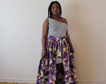 Wax African Print, High Waist Skirt, One Handed Dress, Vlisco Wax, Maxi Dress, Long Skirt