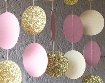 Paper Garland in Cream Blush and Gold, Double-Sided, Bridal Shower, Baby Shower, Birthday Decor, Pink Gold Birthday, Pink Gold Party