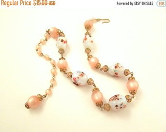 ON SALE Pink Moonglow Lucite and Glass Millefiori Bead Necklace - Adjustable Clasp - Vintage Beaded Necklace