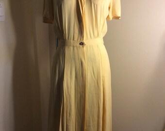 Butter Yellow 1940s Dress