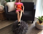 Exclusive! Handknitted Fuzzy Pouf Ottoman in Dark Grey for sixth scale or playscale diorama or dollhouse