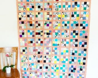 Vintage 9-patch Quilt Top wants your Special Finish, Twin Sized