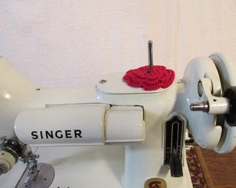 RUFFLED Spool Pin Doily (RED)