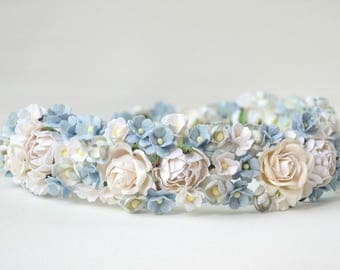 paper  flower headband  ,  wedding headband ,  flower crown