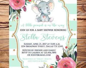 Elephant Baby Shower Invite mint, girl baby shower invitation,gender neutral, boy, gray, navy, flowers,gold confetti, teal 1804