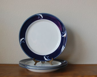 Dansk Flora Indigo 3 Dinner Plates Navy JAPAN