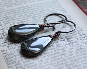 Hematite Ear Weights Hangers in 12g Copper. Sacred Mirrors