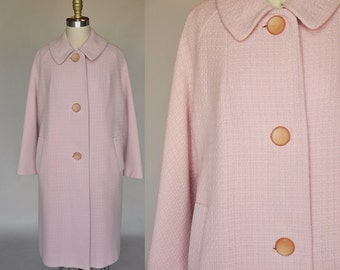Mae pink cocoon coat | vintage 50s pink coat | oversized buttons, pockets m/l