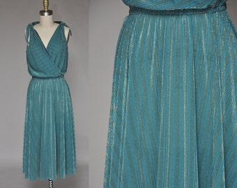 70s Sleeveless Teal Dress with Gold Metallic Detail | Accordion Pleated, Full Skirt