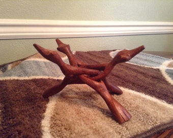 Vintage Wood Duck Carving Tri Stand Display, Organic Display Shelf, Natural Sculpture, Base for bowls -Unisex Gifts