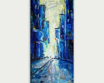 Original Modern Art, Abstract City Painting, Texture Art On Canvas, Home Decor