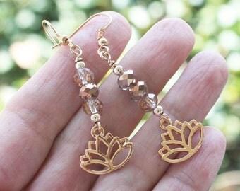 Rose Gold Lotus Earrings, Zen Earrings, czech earrings, zen jewelry, yoga earrings, stocking stuffer, rose gold earrings