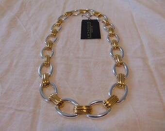 vintage givenchy necklace two tone chain links nwt unused