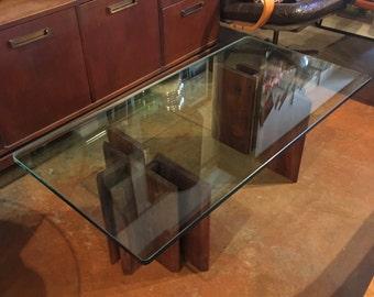Mid Century Modern Glass Top Coffee Table Walnut