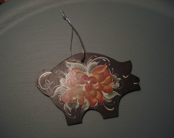 Rosemaled  Wooden Ornament -Black and Red Norwegian Pig