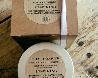 Inspiring Peppermint, Lavender, Patchouli and Tea Tree Aromatherapy, scented Soy Wax Candles