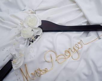 Mrs Bride Hanger, Personalized Scripted Name With Ivory or White Flowers