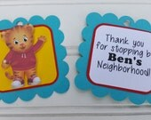 Daniel the Tiger. Daniel the Tiger Party decorations. Daniel Tiger Birthday. First Birthday. Favor tags. Gift tags. Daniel Tiger favor tags