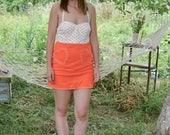 SALE Moschino Orange  Mini Skirt Heart Pockets VTG90's MINI Skirt Neon skirt
