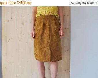 SALE Brown Suede Pencil Skirt VINTAGE 80's tube skirt