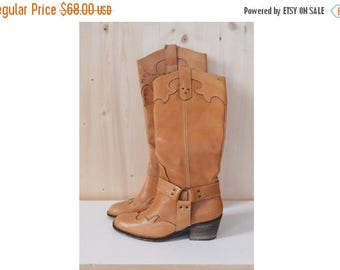 SALE Brown leather Western Boots VINTAGE 70's heeled boots size eu36 us5