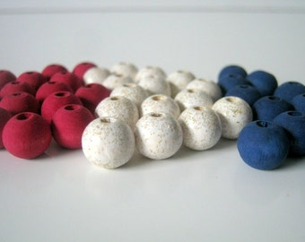 45 Red White Blue Hand Dyed and Hand Painted Wood Beads, 10mm, Jewelry Supplies,