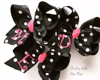 """Polka Dot Monogrammed Bow -- Choose 4"""", 5"""" or 6-7"""" size bow -- so many color choices!"""