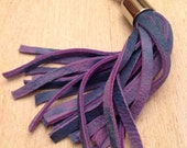 Violet and blue leather Tassel keyring, leather tassel bag charm