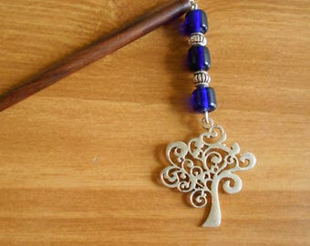 Tree of Life - cobalt blue glass and silver dangly hair stick
