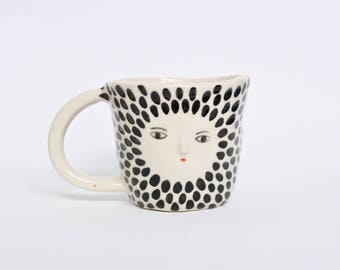Polka dot wonky cappuccino cup -  hand made ceramic cup