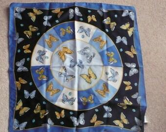 Blue Italian butterfly small silky scarf