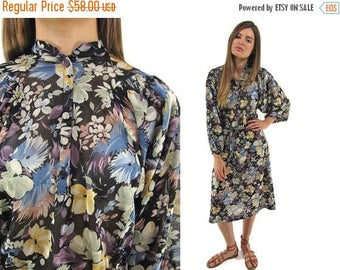 On Sale - Vintage 70s Sheer Floral Dress, Boho Dress, Batwing Dress, Bohemian, Hippie, Sheer Floral Dress Δ size: sm / md