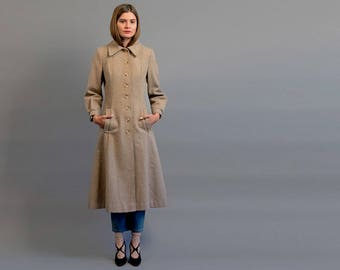 70s Oatmeal Wool Princess Coat / Midi Coat / Heavy Winter Coat / Speckled Wool Coat Δ size: XS/S